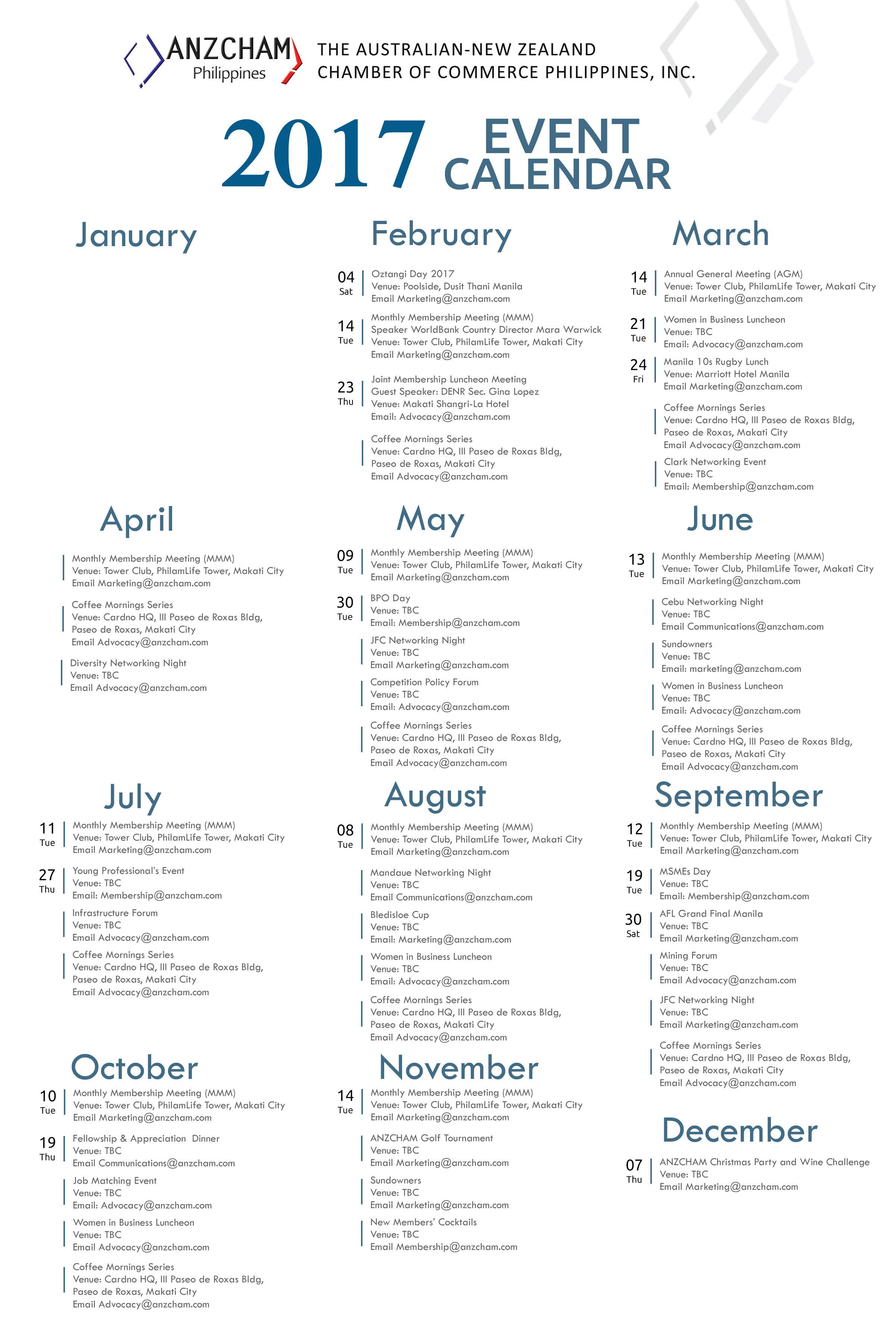 2017 ANZCHAM Event Calendar